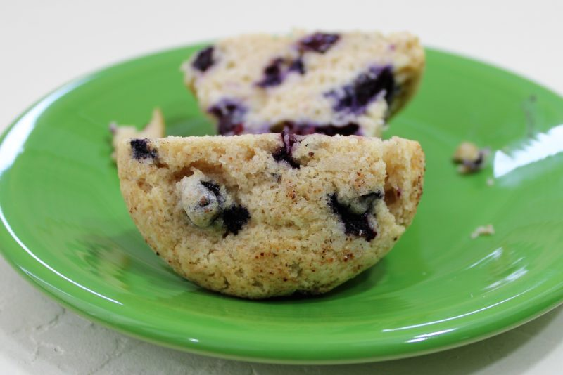 sliced blueberry muffin