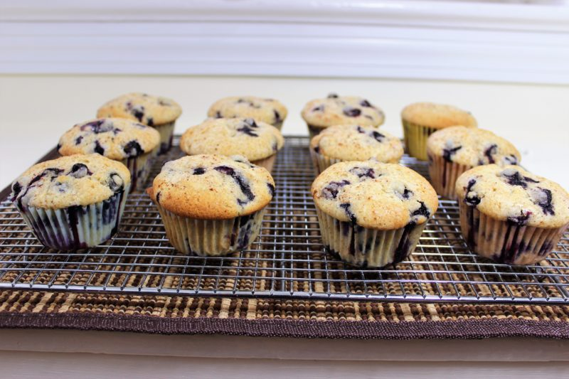 blueberry muffins, cooling