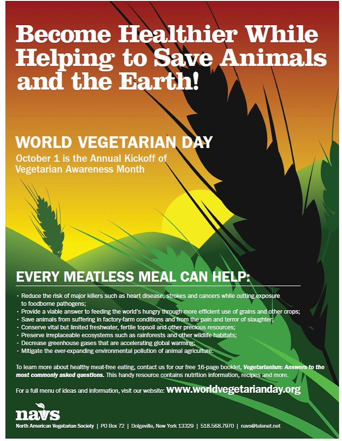 Download this poster at http://www.worldvegetarianday.org/