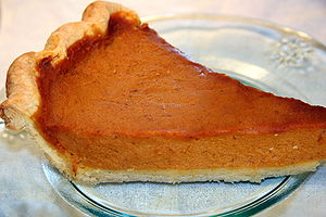 A slice of homemade Thanksgiving pumpkin pie s...