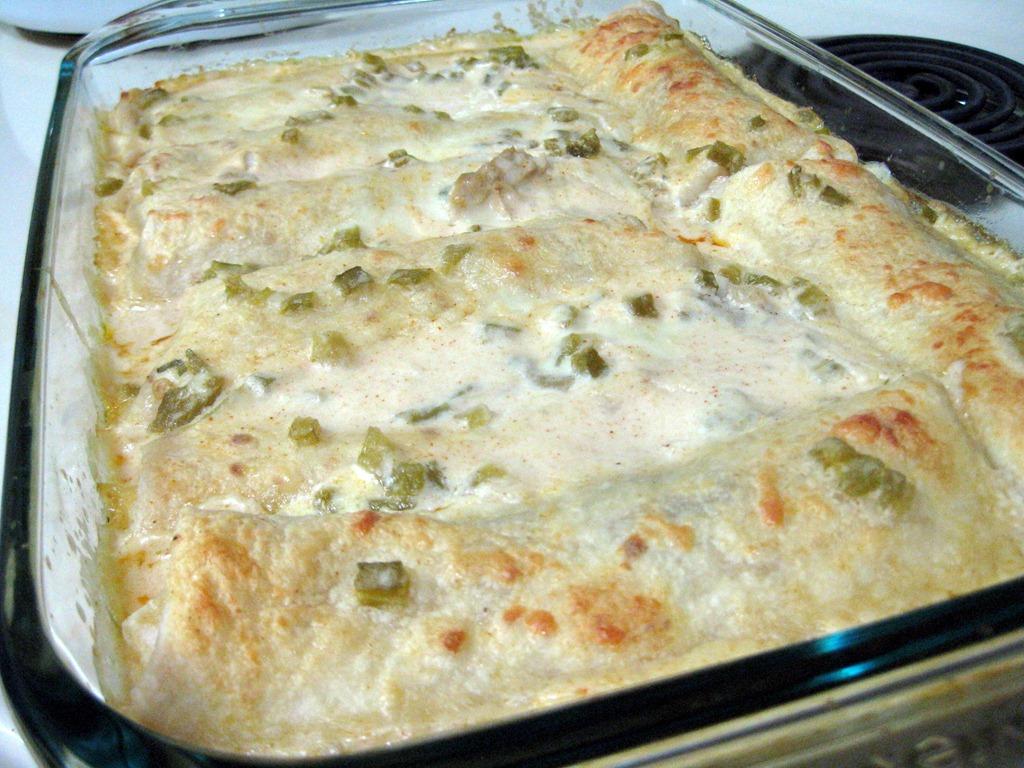 White Chicken Enchiladas Recipe — Dishmaps