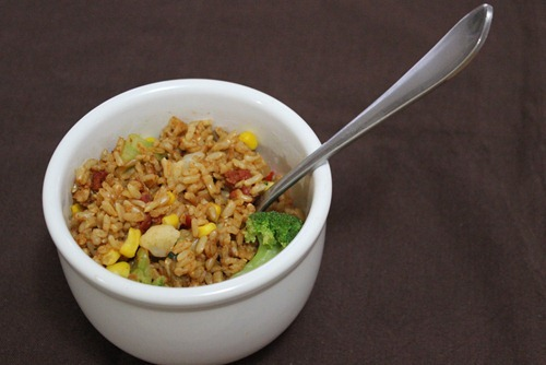 Baked Chili Brown Rice and Vegetables
