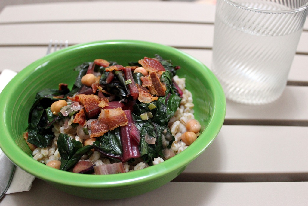 Swiss Chard Topped Farro with Crumbled Bacon