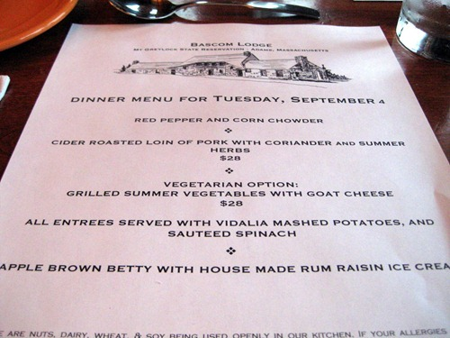 bascom lodge menu