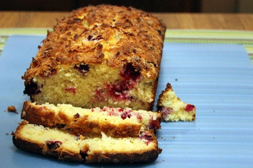 cranberry lime and coconut loaf