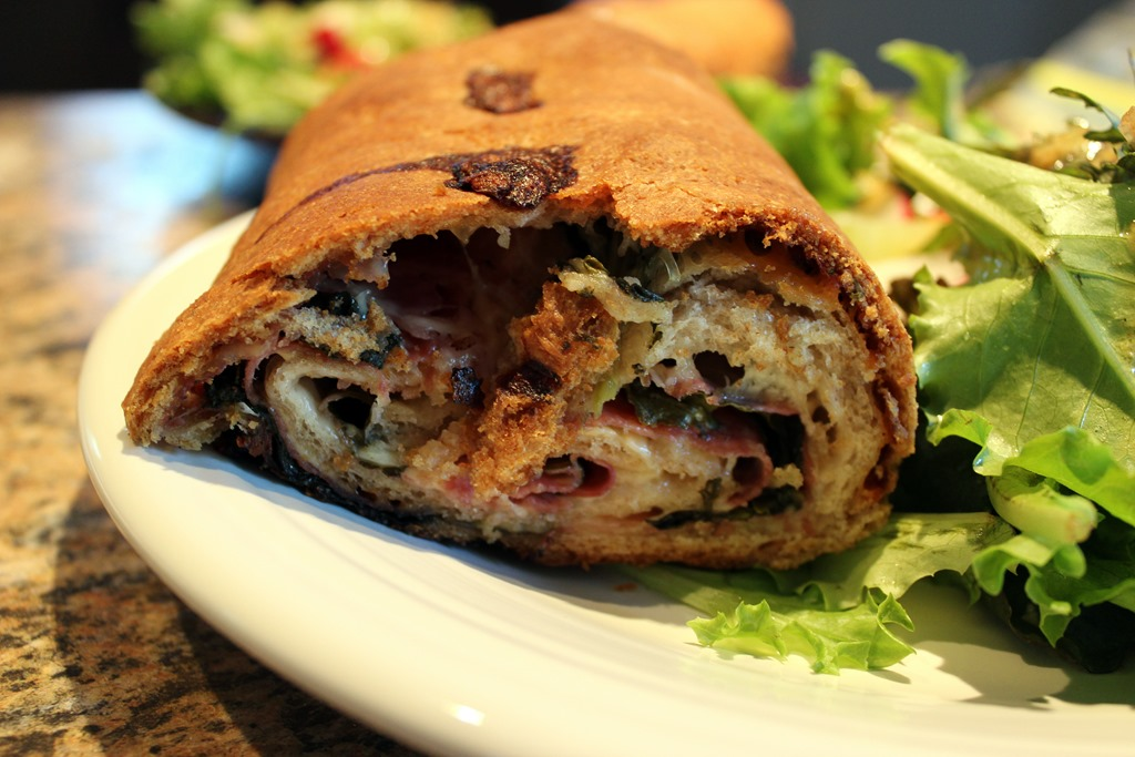 Three Cheese, Prosciutto, Salami and Spinach Stromboli | Relishments