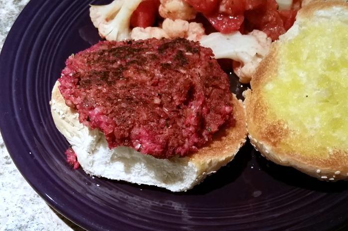 quarter pounder beet burger from Post Punk Kitchen