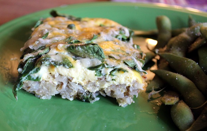 egg potato and spinach cassrole served