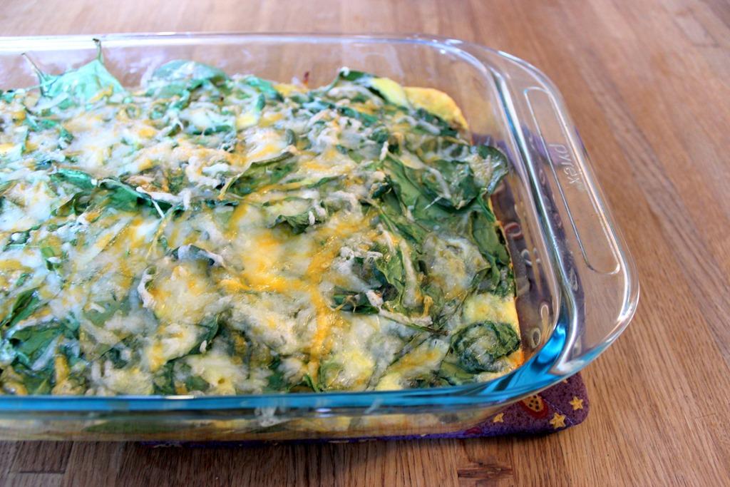 Cheesy Potato, Spinach and Egg Breakfast Casserole