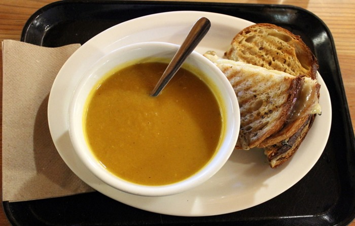 KAF butternut cider soup and grilled cheese