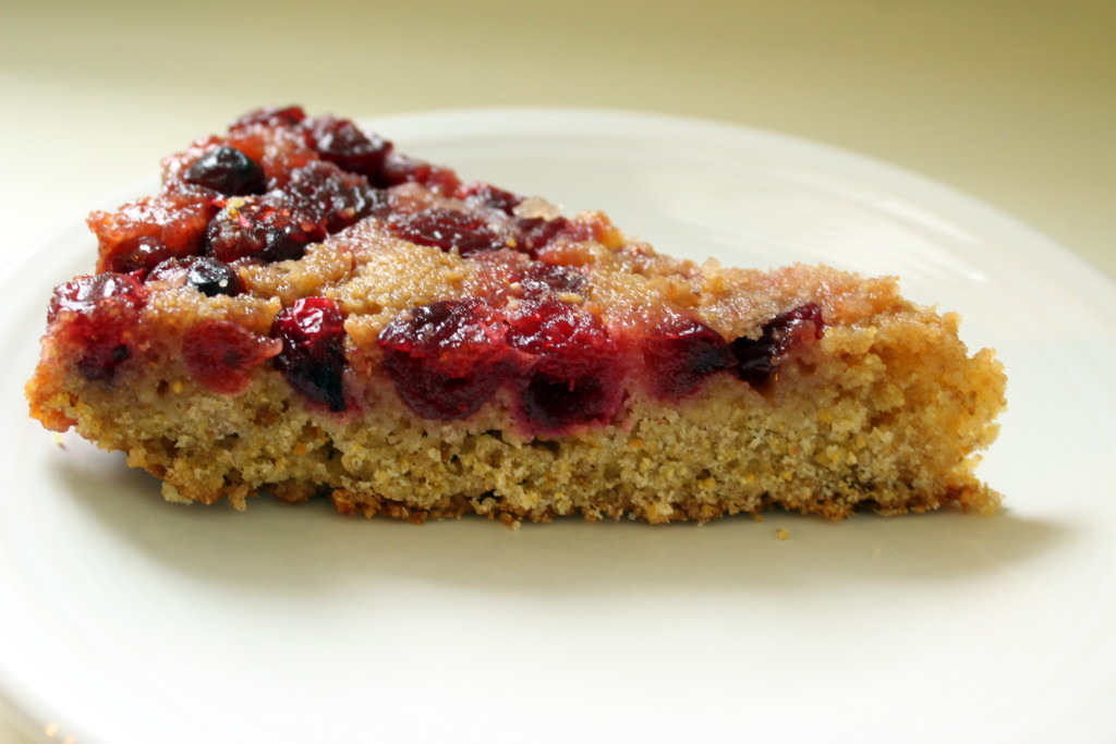 slice of Cranberry Cornmeal Upside-Down Cake