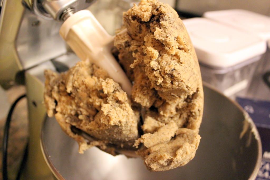 earl grey shortbread dough in mixer
