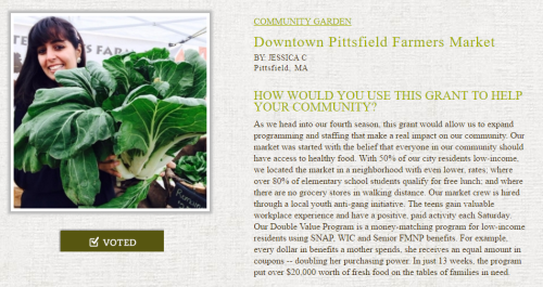 Vote and Help the Pittsfield Farmer's Market Win $20K!