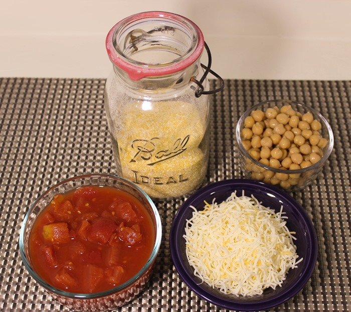 ingredients - cheesy polenta with tomatoes and chickpeas