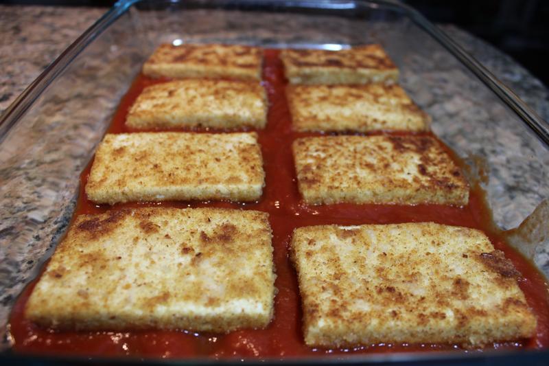 tofu parmesan in baking pan