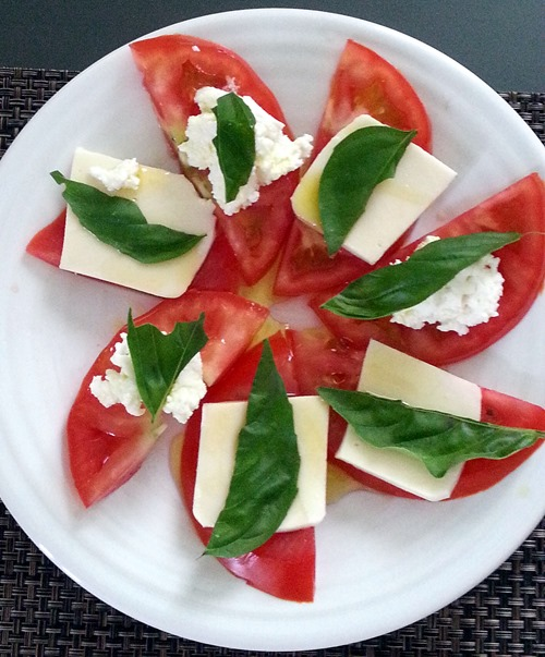 tomatoes and cheese and basil