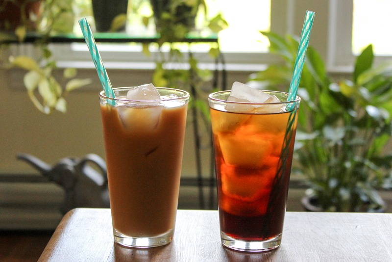 Pair of iced coffee drinks
