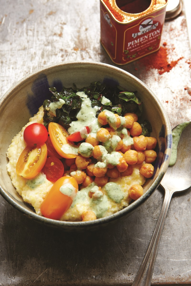 Soft Polenta with Roasted Smoky Chickpeas, Grape Tomatoes, Chard, and Creamy Basil Sauce from Great Bowls of Food