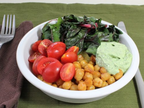 Soft Polenta with Roasted Smoky Chickpeas, Grape Tomatoes, Chard, and Creamy Basil Sauce & Great Bowls of Food Cookbook Review