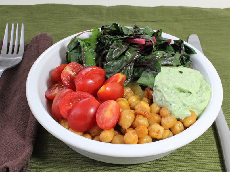 My version of Soft Polenta with Roasted Smoky Chickpeas, Grape Tomatoes, Chard, and Creamy Basil Sauce