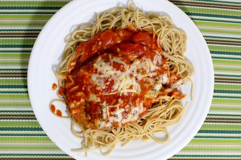 baked eggplant parmesan serving 2