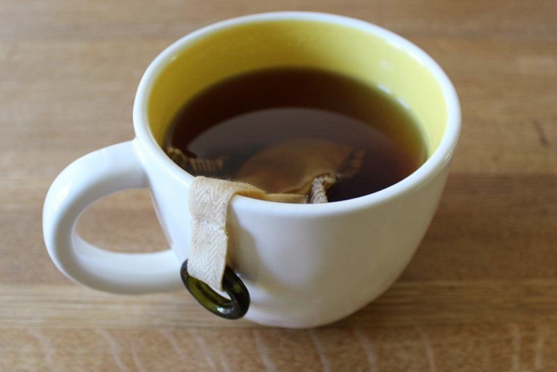 Uncommon Goods Reusable Tea Filter in use