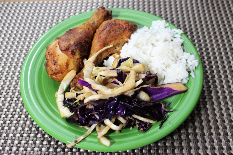 cabbage salad and chicken and rice
