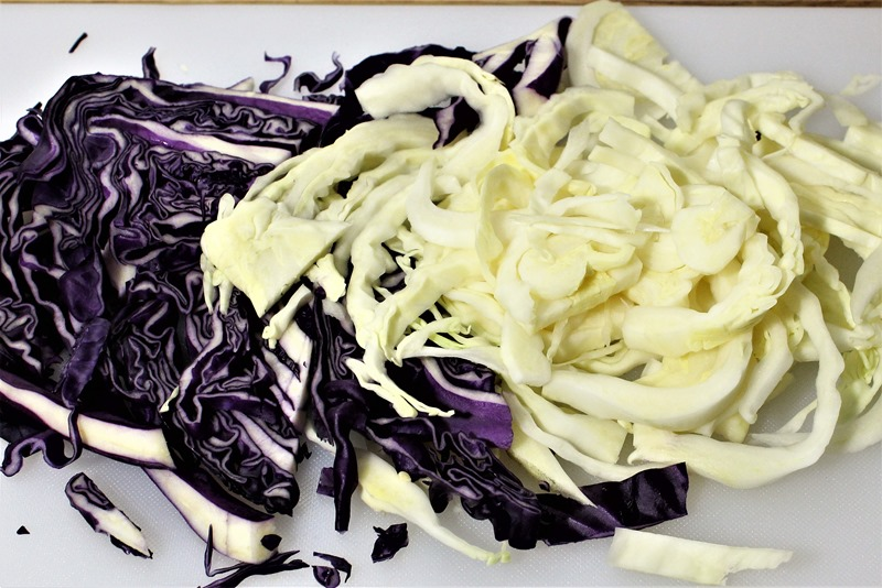 shredded green and red cabbage