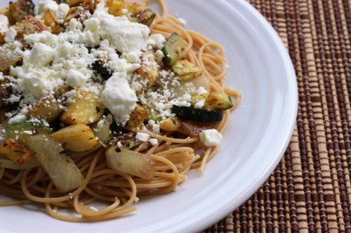Tuscan Seasoned Summer Squash with Spaghetti and Feta